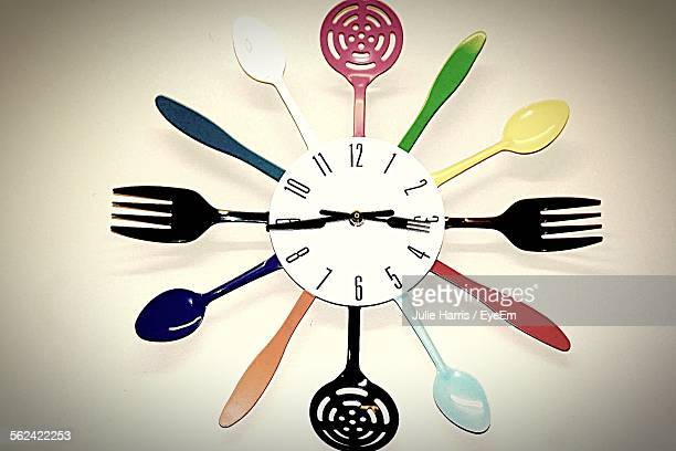 Clock With Plastic Cooking Utensils