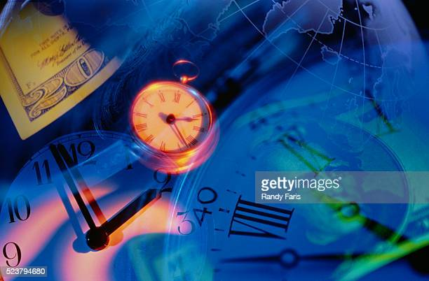 Clocks, $20 Bills, and Globe
