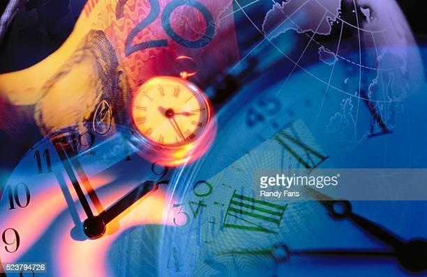 Clocks, Australian Currency, and Globe