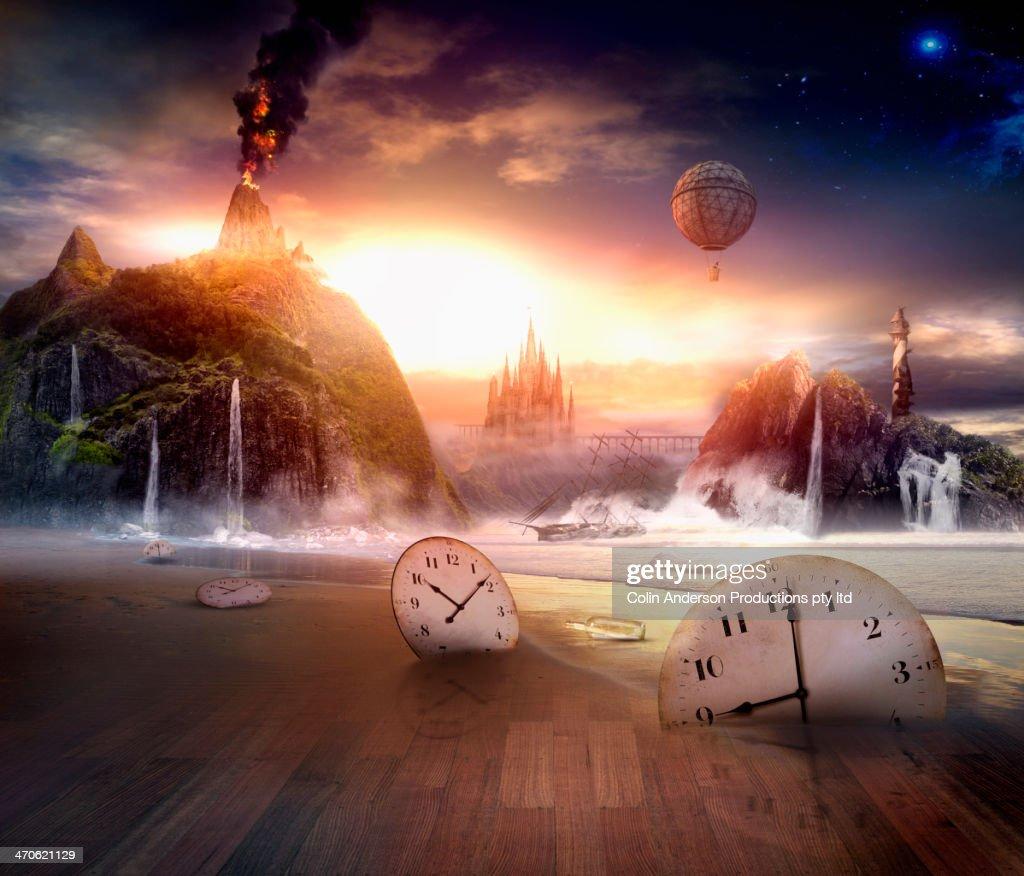 Clocks in dramatic landscape