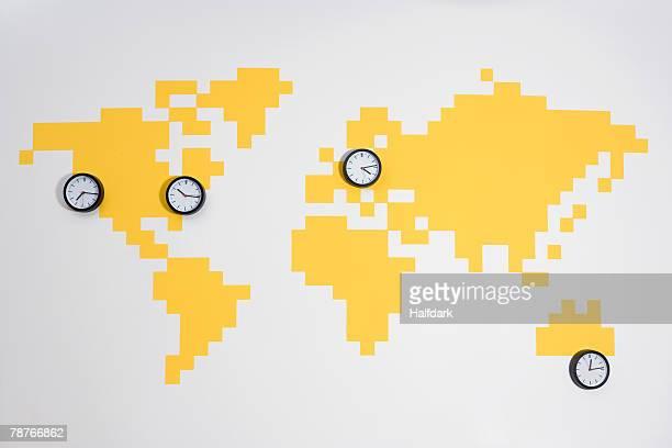 Clocks on a world map