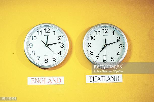 Clocks On Yellow Wall