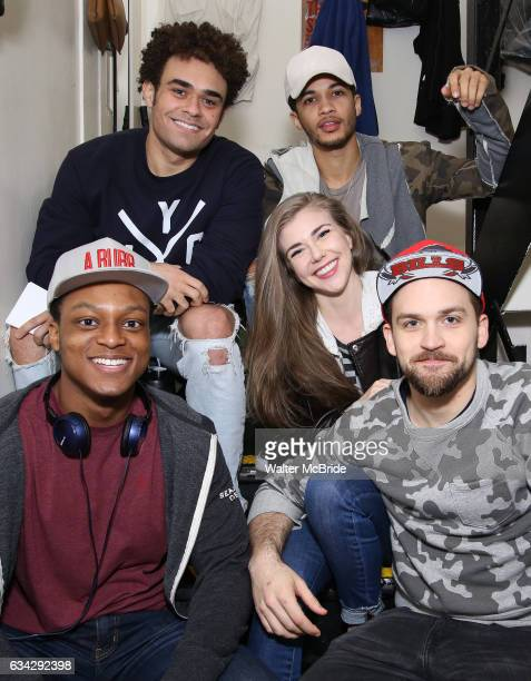 Clockwise Andrew Chappelle Jordan Fisher Eliza Ohman Neil Haskell and J Quinton Johnson backstage before the cast Q A for The Rockefeller Foundation...