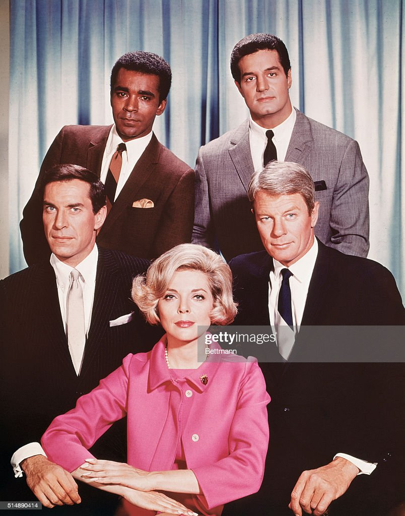Clockwise from front, the cast of Mission: Impossible Barbara Bain, Peter Graves, Peter Lupis, Greg Morris and Martin Landeau. A Desilu Productions Inc. show, the series was on the air from 1966-1973.
