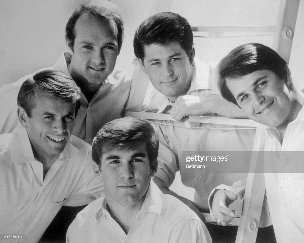 Clockwise from left, the Beach Boys are Al Jardine, Mike Love, Brian Wilson, Dennis Wilson, and Carl Wilson.
