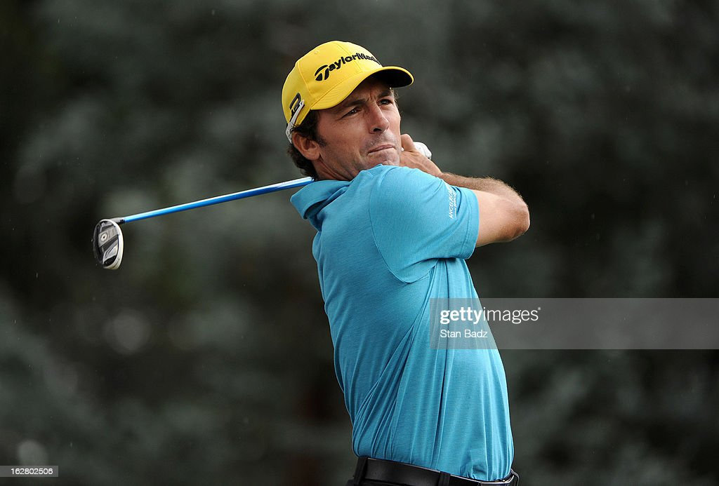 Clodomiro Carranza hits a drive on the 14th hole during the practice round for the Colombia Championship at Country Club de Bogotá on February 27, 2013 in Bogotá, Colombia.
