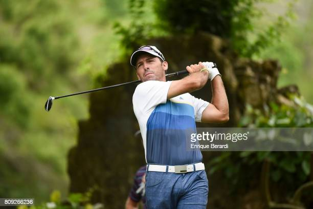Clodomiro Carranza of Argentina tees off on the 18th hole during the third round of the PGA TOUR Latinoamerica BMW Jamaica Classic at Cinnamon Hill...