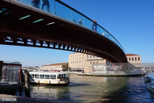 Cloe Up on Ponte della Constituzione Bridge by Calatrava, Italy, Venice