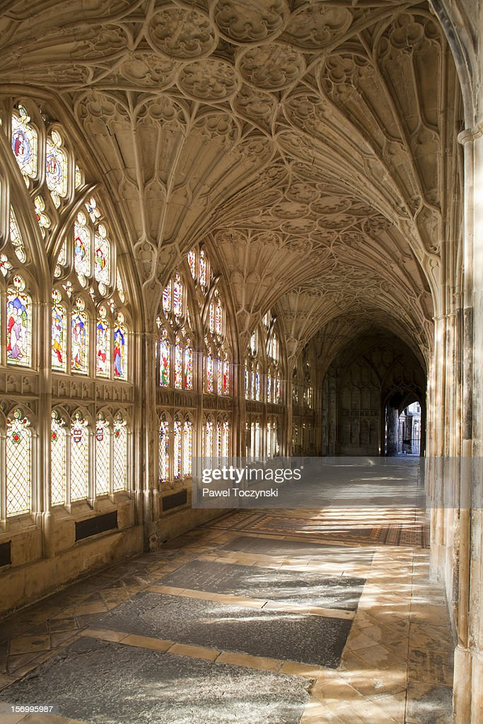 Cloister corridors, Gloucester Cathedral : Stock Photo