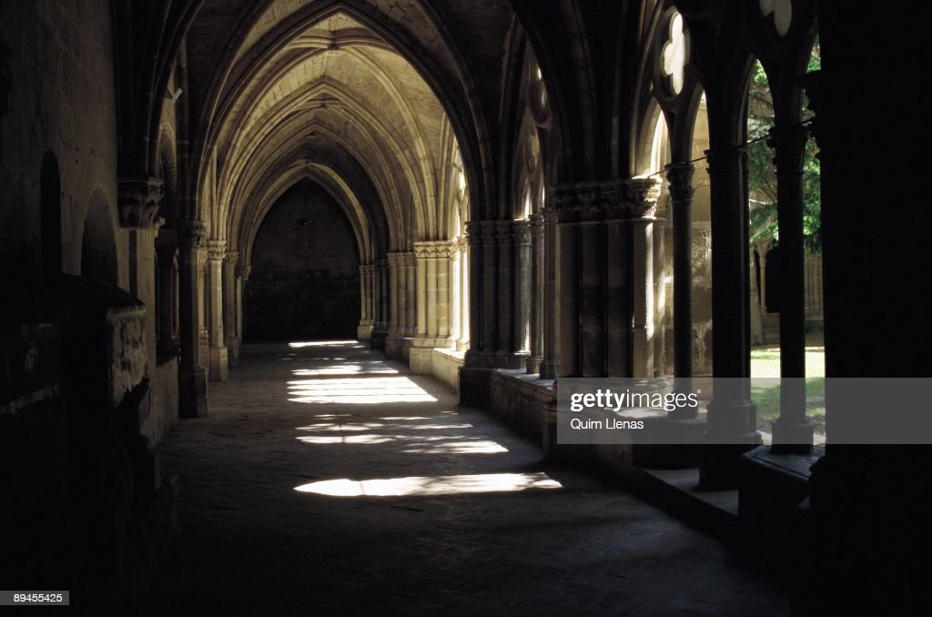 Cloister of Veruela Monastery Vera de Moncayo Zaragoza province Veruela Monastery 12th century Cistercian order with posterior elements