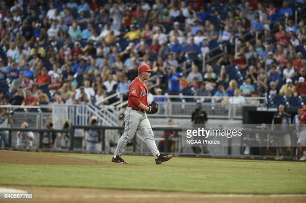 Cloney of University of Arizona celebrates his complete game win against Coastal Carolina University during the Division I Men's Baseball...
