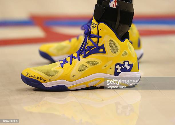 A clos up of the shoes worn by Stephen Curry of the Golden State Warriors in the game against the Los Angeles Clippers at Staples Center on October...