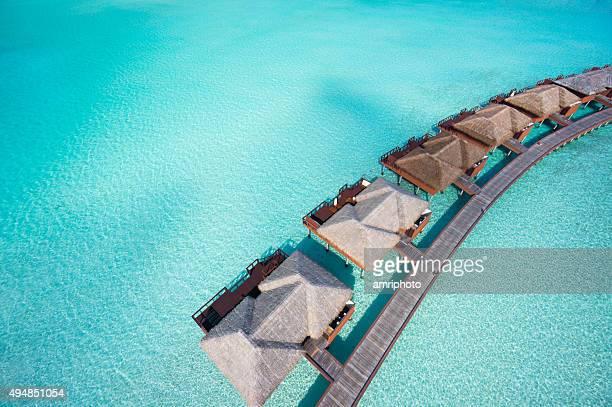 aerial overtware-bungalows in der Lagune
