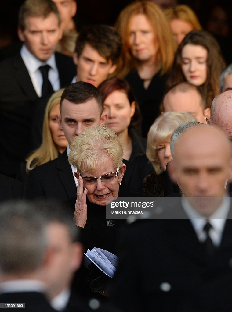Close friends and family members leave the funeral service at St Andrews Cathedral for PC Kirsty Nelis who was killed in the Clutha Bar Helicopter...