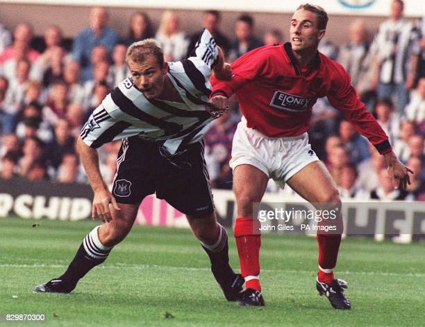 Close marking for Alan Shearer as he makes his home debut for Newcastle United against Wimbledon in the Premiership tonightPhoto John GilesPA