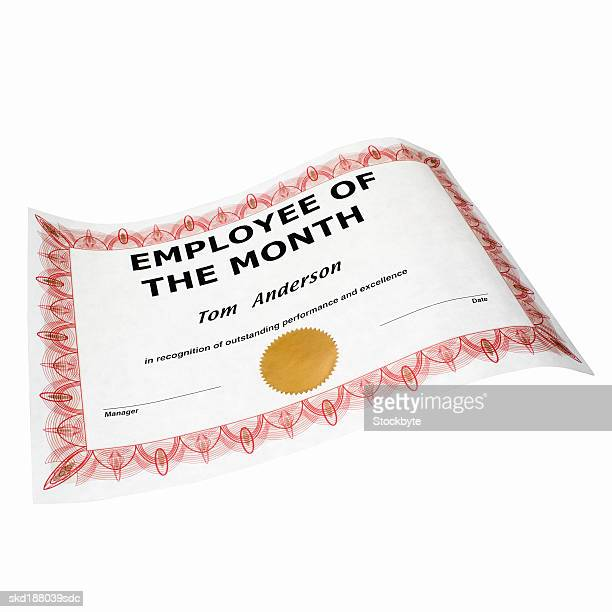 Close of an employee of the month certificate