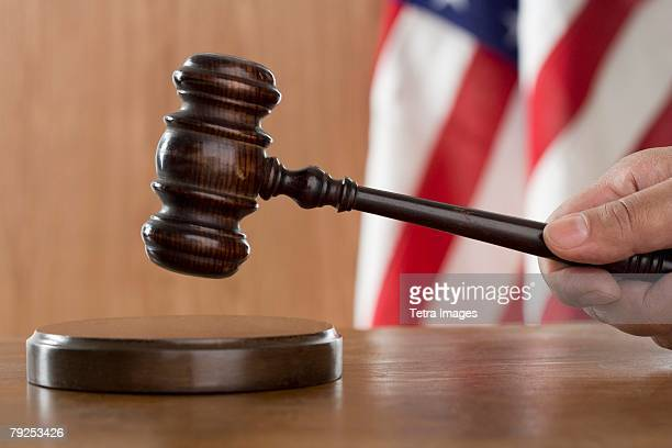 Close of gavel in courtroom