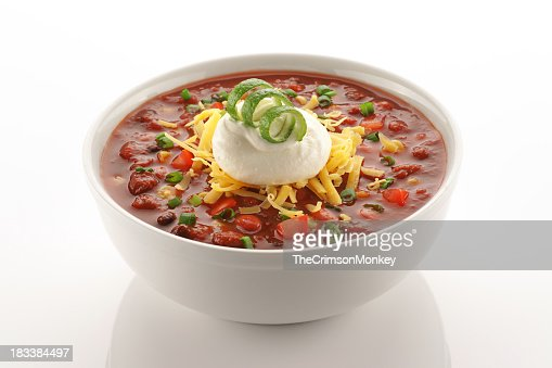 Close of up vegetarian chili in white bowl