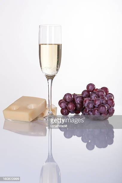 Close To French Cheese,Grapes and  White Wine