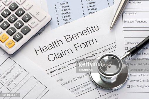 Close up a Health benefits claim form