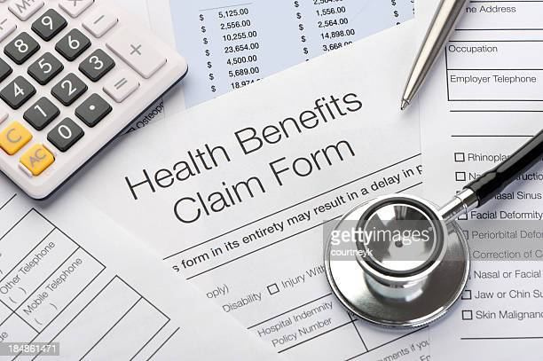 Close up a Health benefits claim form