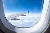 Close up Airplane window with airplane wing ,Traveling concept.