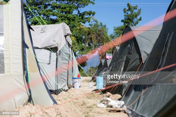 PortauPrince Haiti December 09 2012 Close up at s string that stabilize a tent in the refugee camp Parc Colofe in PortauPrince The camp exist since...