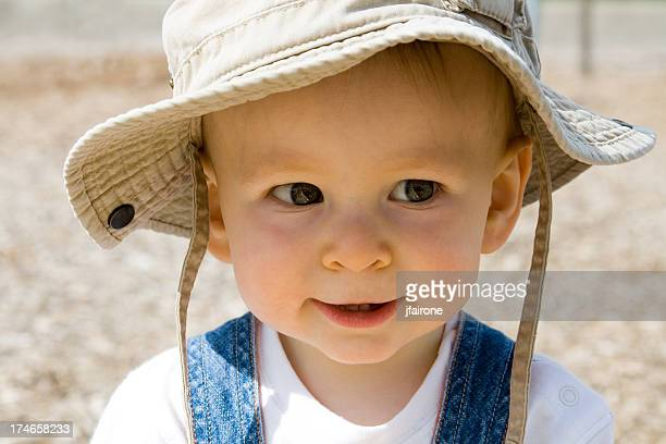 Close up Baby in khaki hat