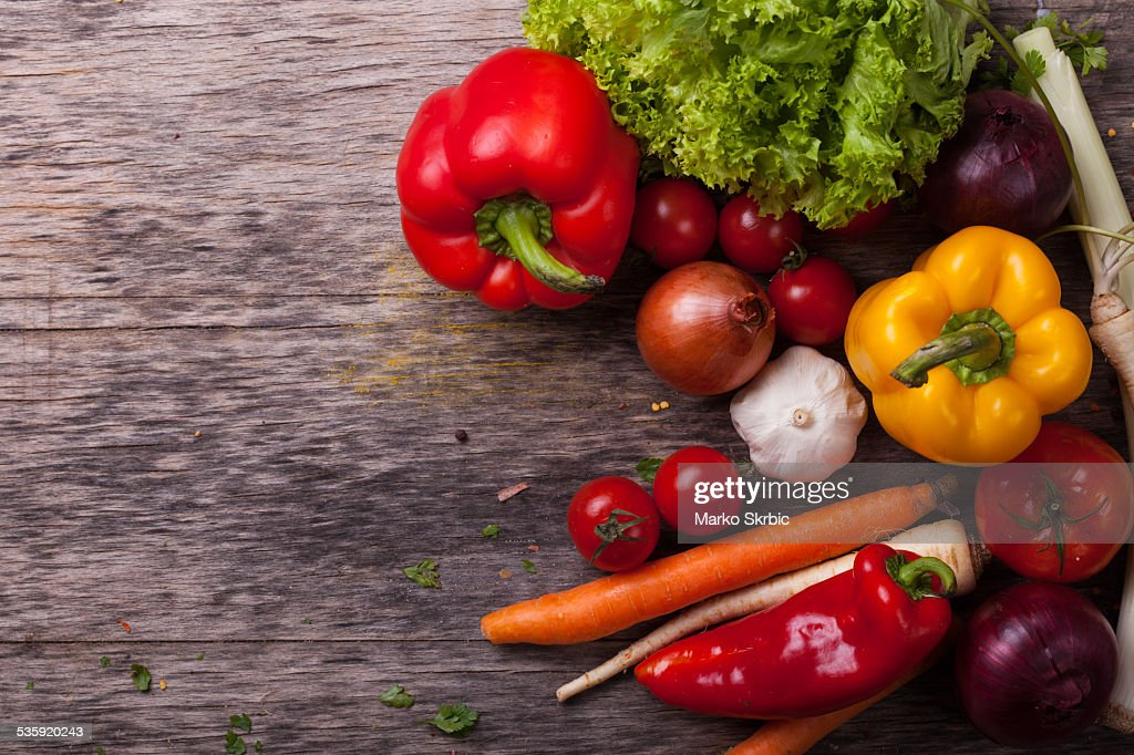Close up board cooking wood more vegetable ingredient : Stock Photo