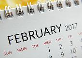 Close up calendar of February 2017