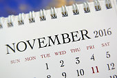 Close up calendar of November 2016