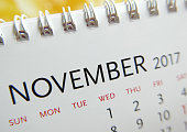 Close up calendar of November 2017