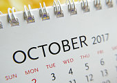 Close up calendar of October 2017