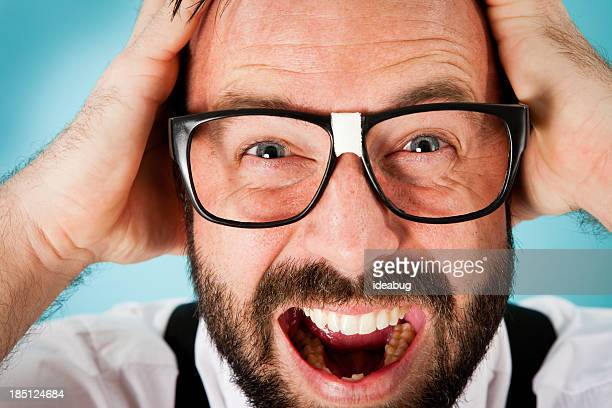 Close Up Color Image of Stressed/Frustrated Nerdy Guy