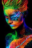 close up color UV portrait on black bacground