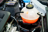 Close up Coolant container in a car's engine bay