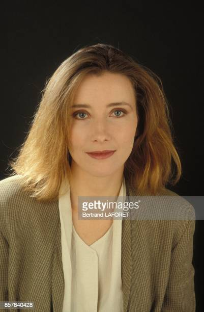 Close up de l'actrice britannique Emma Thompson en mai 1992 en France