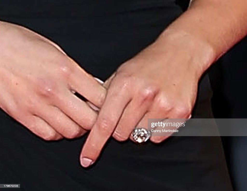 A close up detail of an engagement ring as actress <a gi-track='captionPersonalityLinkClicked' href=/galleries/search?phrase=Scarlett+Johansson&family=editorial&specificpeople=171858 ng-click='$event.stopPropagation()'>Scarlett Johansson</a> attends 'Under The Skin' Premiere during the 70th Venice International Film Festival at Sala Grande on September 3, 2013 in Venice, Italy.