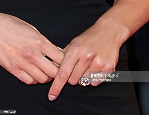 A close up detail of an engagement ring as actress Scarlett Johansson attends 'Under The Skin' Premiere during the 70th Venice International Film...