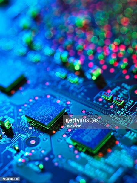 Close up detail of blue computer circuit board