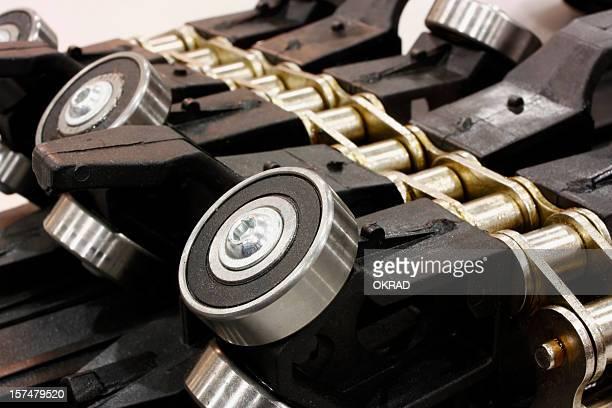 Gros plan du détail de chaîne et industriel roulements
