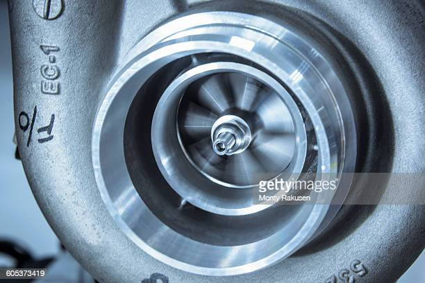 Close up detail of spinning turbocharger blades in research facility