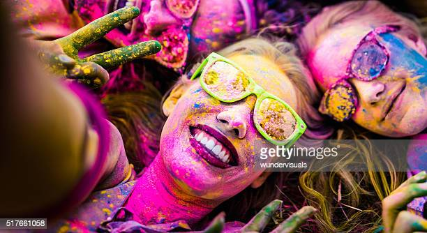 Close up Face Shot of Girl Covered in Holi Powder