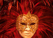 Close up female carnival mask,Venice