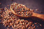 Close up flax seed in wooden spoon , super food with hight of fiber nutrient and anti inflammatory omega-3 fatty acids