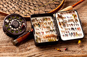 Close up - Fly-Fishing rod & collection of Flies.