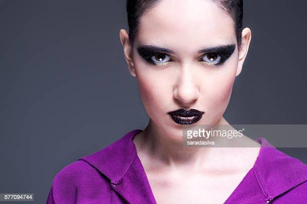 Close Up Girl with Black MakeUp