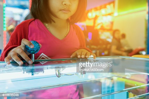 Close up hand control joystick of arcade,Vintage tone, : Stock Photo