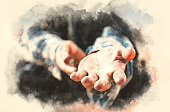 Close up hand of homeless man on walking street in the capital city on watercolor painting background.