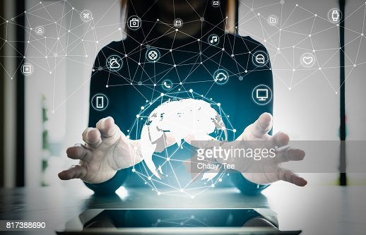 Close up hand's woman over digital planet global connection with communication network application icon,  internet of things (IoT) and Digital era. Marketing 4.0 : Stock Photo